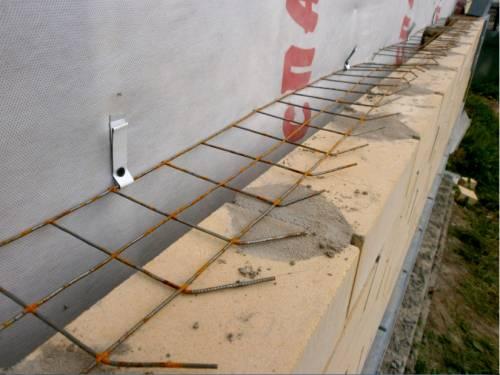 Крепление кирпичной облицовки с помощью кладочной сетки