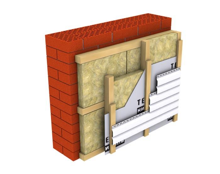 Навесной фасад с двойным утеплением