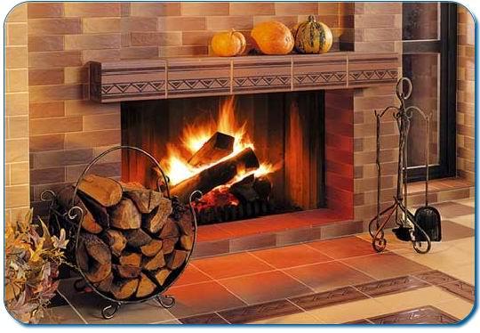 Облицовка плиткой камина из кирпича клинкерной