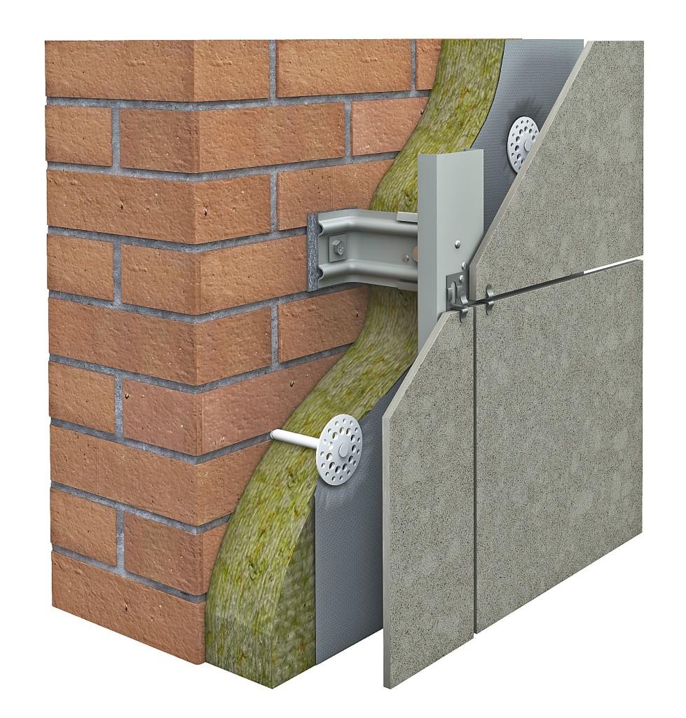 Один из вариантов фасадных подсистем: керамогранит на металлическом каркасе