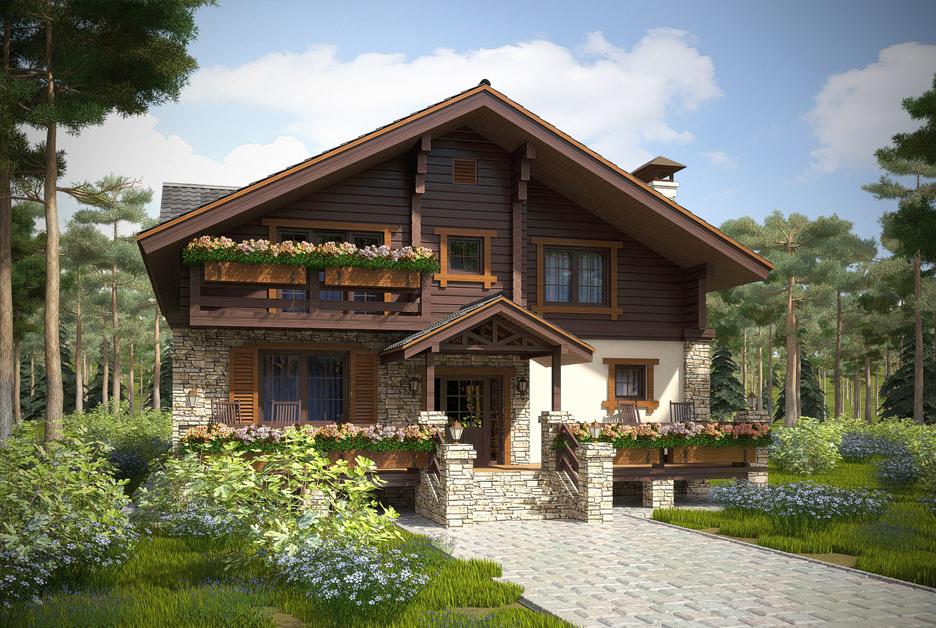 Дома из дерева и кирпича: проекты