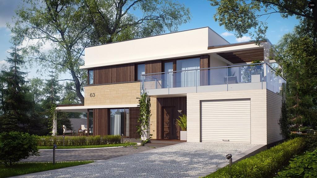 Современный проект комбинированного дома в стиле хай-тек