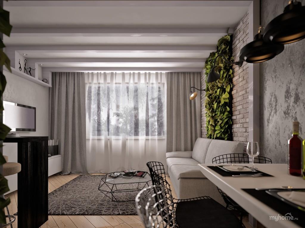 Современный дизайн гостиной, где присутствуют и деревянные конструкции, и кирпичная кладка