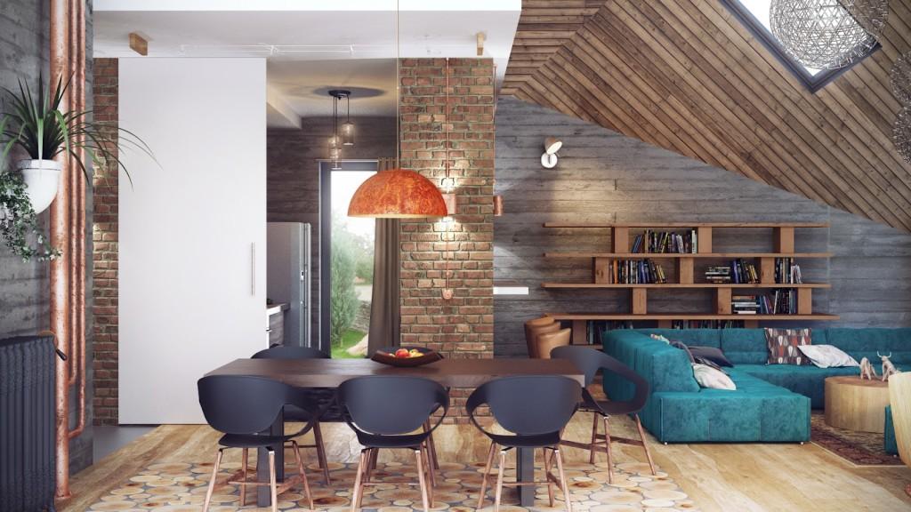 Дизайн мансардного этажа в стиле лофт