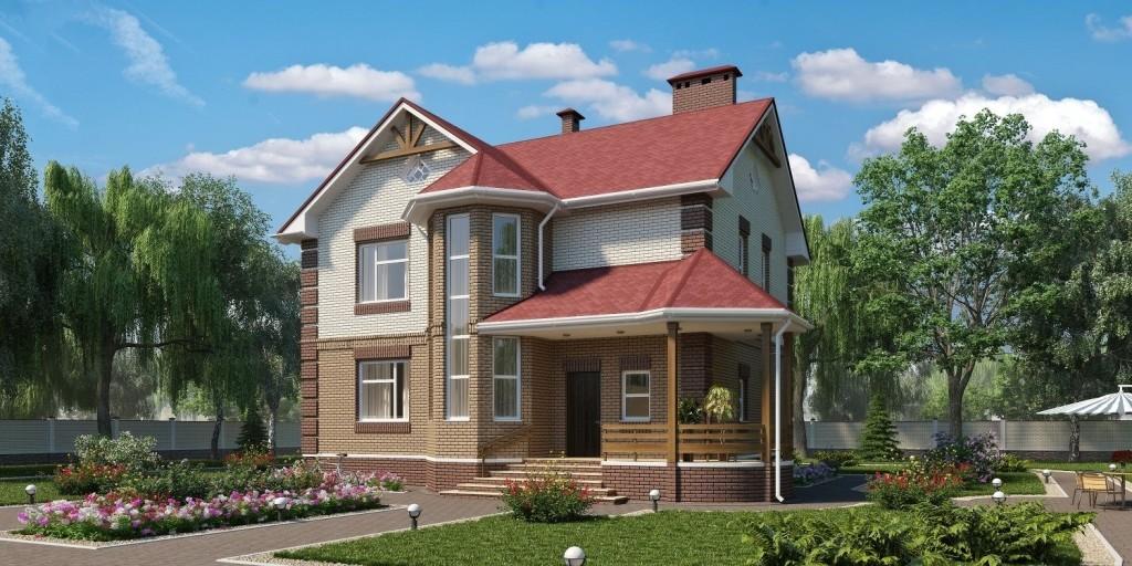 Проект кирпичного сельского дома