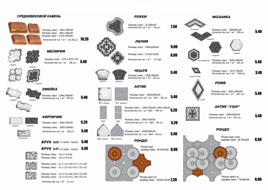 Различные варианты тротуарной плитки и кирпича