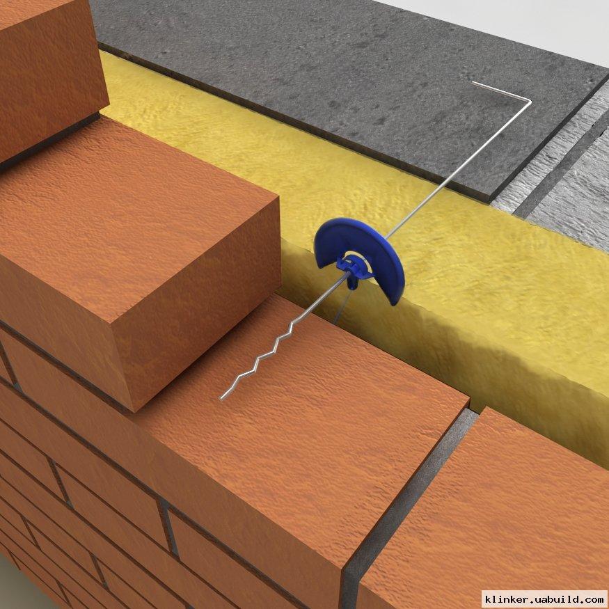 Анкерное крепление лицевой стенки к несущей стене