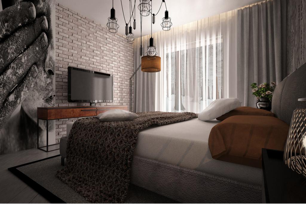 Тенденции современного дизайна: спальня с кирпичной стеной