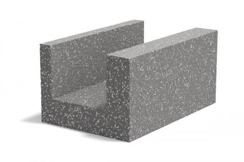 Лотковый керамзитобетонный блок для устройства перемычки