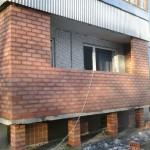 Балконная плита с кирпичными ограждениями, требует дополнительной опоры или облегчённой кладки