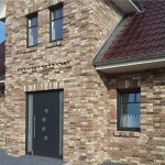 Кирпич керамический серый в дизайне фасада