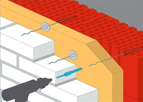 Армирование и крепление облицовки к стене
