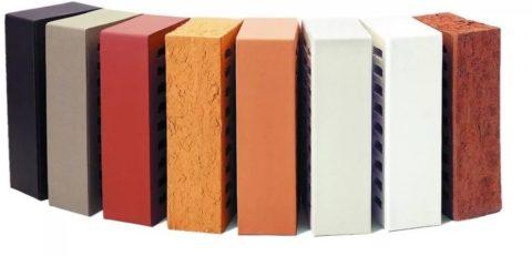 Облицовочный керамический кирпич разных цветов