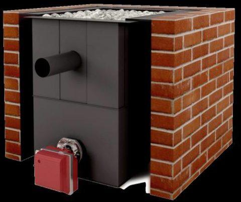 Печь для бани из кирпича, как построить вариант с газовой горелкой