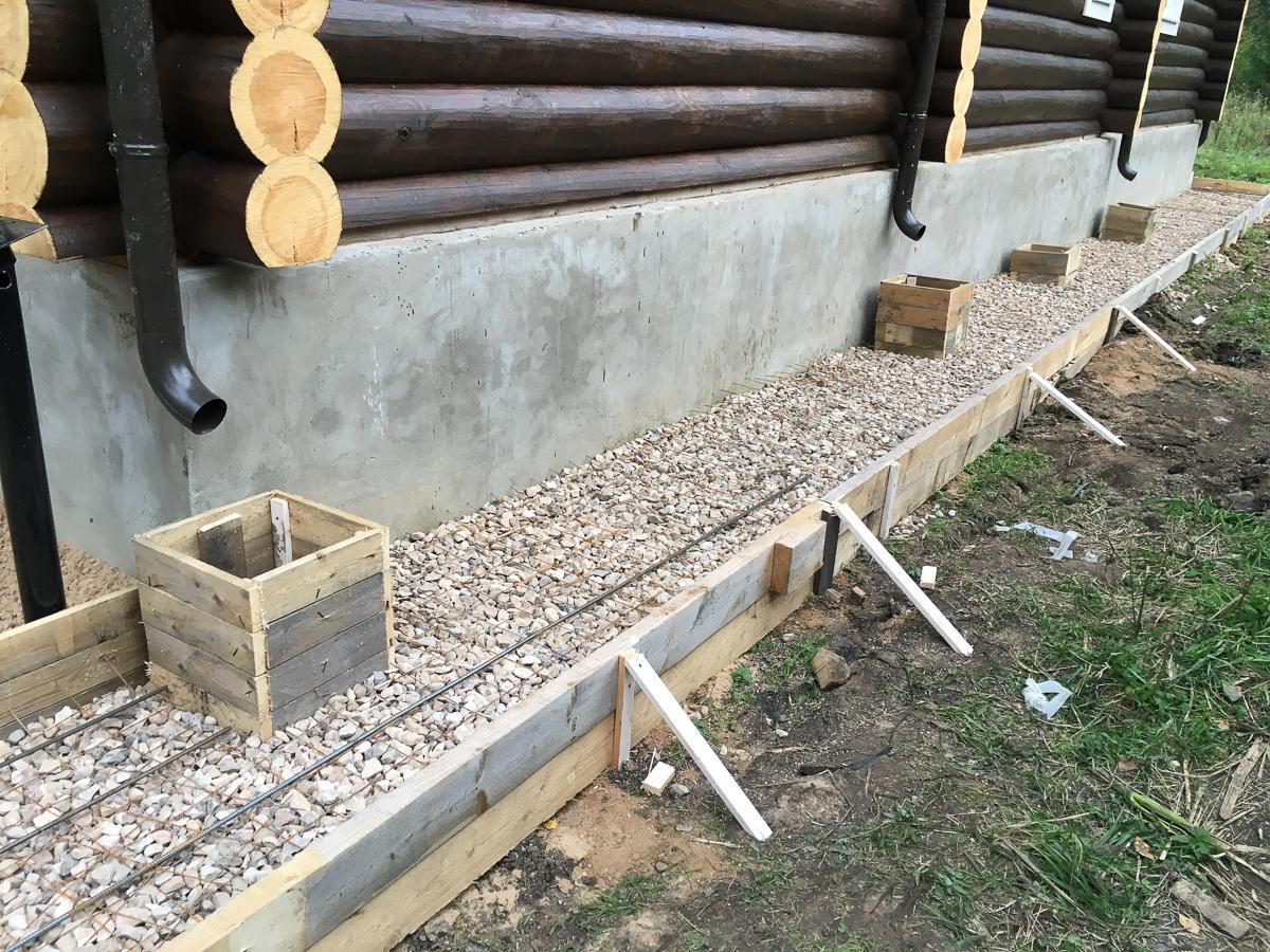 Как сделать отмостку вокруг деревянного