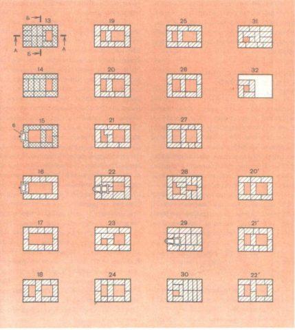 Продолжение порядовки печи с теплоотдачей на 1760 ккал/ч, с 13-го по последний ряд