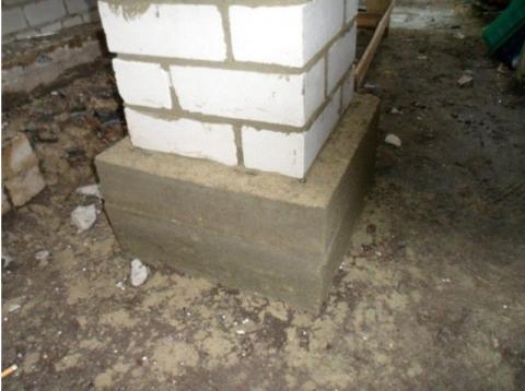 Залитый фундамент под колонны