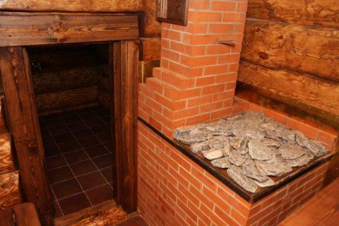 Печь с открытыми камнями