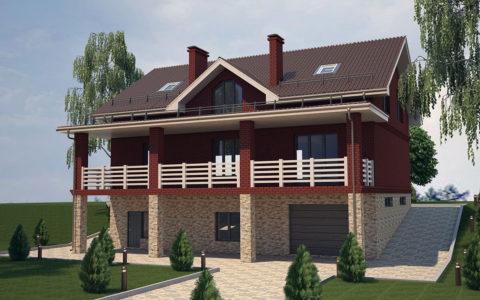 Полутораэтажный дом на склоне