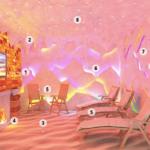 Схема устройства солевой комнаты: 1. Соляные кирпичи 2. Солевые сталактиты 3. Напольное напыление из соли 4. Соляная лампа 6. Светодиодная подсветка 7. Настенное напыление из соли 8. Подсветка «Звездное небо» 9. Вентилятор 11. Галогенератор
