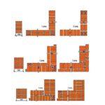 Схема устройства углов стены в один, полтора и два кирпича с цепной перевязкой швов