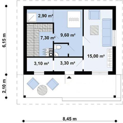 Чертеж - планировка первого этажа