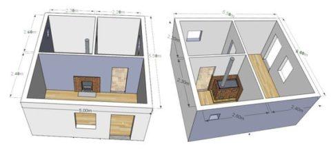 Наиболее распространенные проекты дачных бань из кирпича - вариант планировки