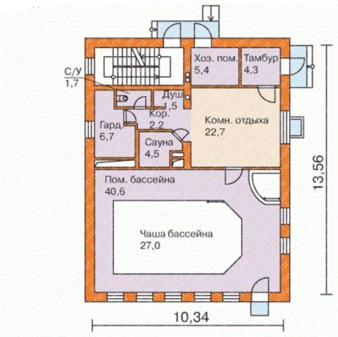 План расположения помещений на первом этаже