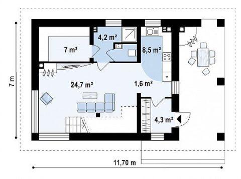 Планировка первого этажа – проект бани с парилкой из кирпича
