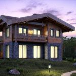 Комбинирование двух материалов в строительстве жилого дома дает массу преимуществ