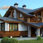 Комбинированные сооружения нередко выполняются в стиле шале