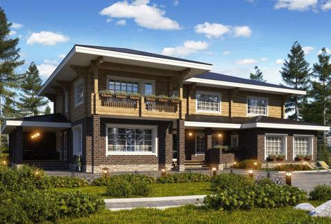 Красиво, надежно, долговечно – комбинированный дом из кирпича и бруса
