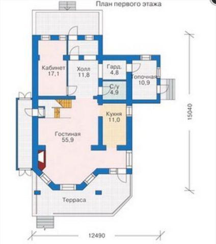 Расположение помещений на первом этаже