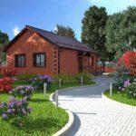 Небольшой одноэтажный дом из красного кирпича
