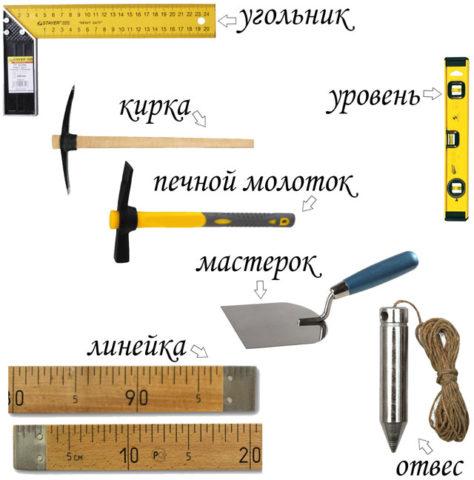 Инструменты, необходимые для кладки печек