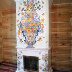 Мини печь-камин из кирпича с облицовкой керамической плиткой