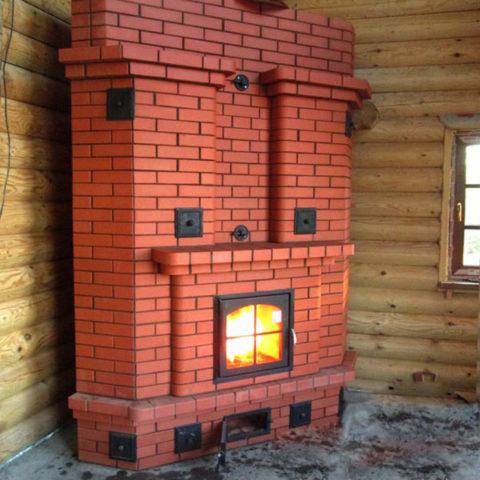 Угловая каминопечь – отличный вариант для загородного дома