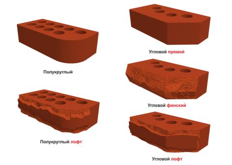 На фото представлены образцы полукруглого и углового кирпича в разных стилях