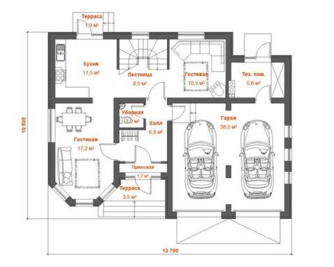 Планировка первого уровня дома