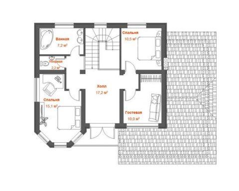 Планировка второго уровня дома