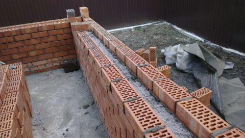 Колодцевая кладка с заполнением бетоном
