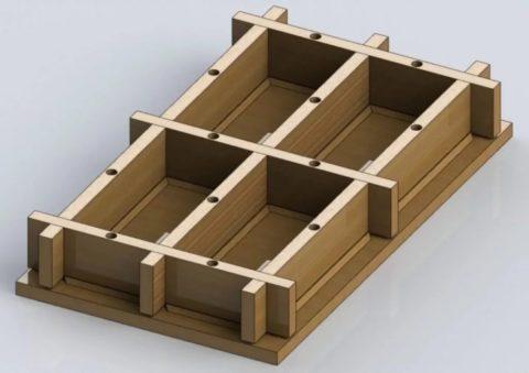 Форма для изготовления четырех кирпичей