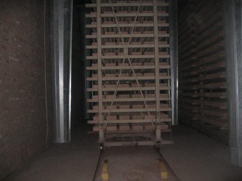 Кирпич в сушилке туннельного типа