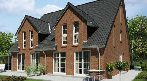 Дом в немецком стиле в дух уровнях с мансардой