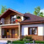 Проект загородного кирпичного дома с мансардой